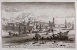 Untitled (walled city on the coast, galley ships in the foreground)