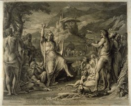 Orpheus Instructing a Savage People in Theology, first plate in the book, A Series of Etchings … from … Paintings, in the Great Room of the Society of Arts, Manufactures, and Commerce, Adelphi (London: printed by W. Bulmer … sold by Colnaghi, 1808)