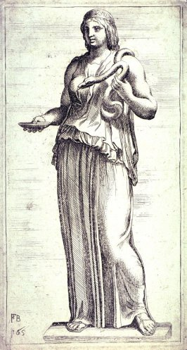 Statue Of Woman Holding Serpent