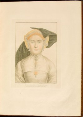 Portrait of an Unidentified Lady , plate 9 in the book Imitations of Original Drawings by Hans Holbein in the Collection of His Majesty (London: John Chamberlaine, 1792)