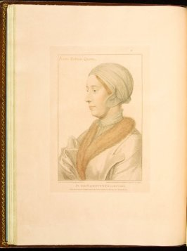 Queen Anne Boleyn , plate 18 in the book Imitations of Original Drawings by Hans Holbein in the Collection of His Majesty (London: John Chamberlaine, 1792)