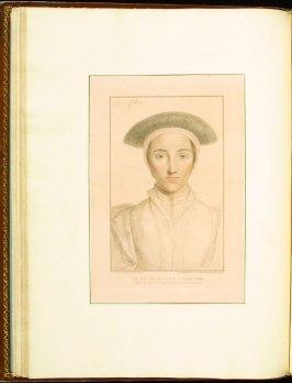 """""""Anne of Cleves""""( Unknown Lady) , plate 24 in the book Imitations of Original Drawings by Hans Holbein in the Collection of His Majesty (London: John Chamberlaine, 1792)"""