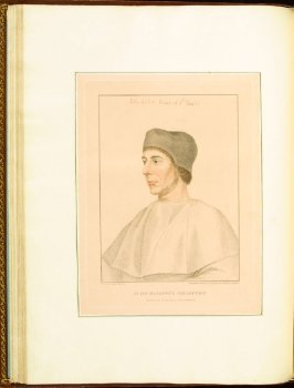 John Colet, Dean of St. Paul's , plate 27 in the book Imitations of Original Drawings by Hans Holbein in the Collection of His Majesty (London: John Chamberlaine, 1792)