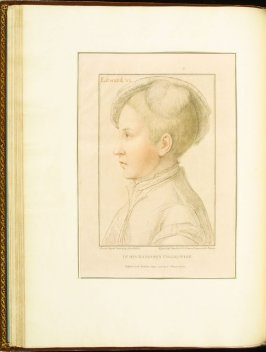 Edward VI , plate 32 in the book Imitations of Original Drawings by Hans Holbein in the Collection of His Majesty (London: John Chamberlaine, 1792)