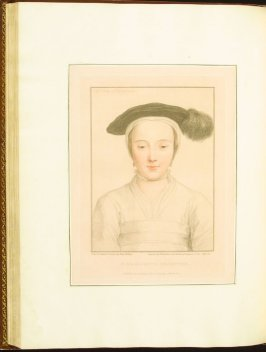 The Lady of Richmond , plate 64 in the book Imitations of Original Drawings by Hans Holbein in the Collection of His Majesty (London: John Chamberlaine, 1792)