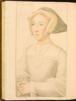 Queen Jane Seymour , plate 68 in the book Imitations of Original Drawings by Hans Holbein in the Collection of His Majesty (London: John Chamberlaine, 1792)