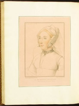 Duchess of Suffolk , plate 75 in the book Imitations of Original Drawings by Hans Holbein in the Collection of His Majesty (London: John Chamberlaine, 1792)