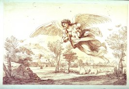 Angel Flying Over Landscape Carrying 2 Children