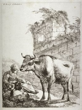[Shepherd seated next to a ram, goat and a bull]