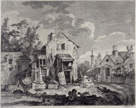 untitled (country village, boy with dog in foreground)