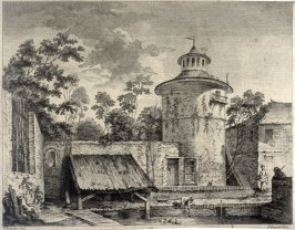 untitled (old buildings, tower at right)