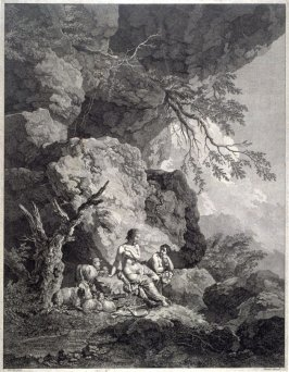 Two Shepherdesses And Flock Among The Rocks