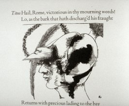 "Untitled, first in text image for act 1, scene 1 on unnumbered page beginning ""Hail, Rome, victorious in thy mourning weeds..."", first wood engraving in the book Titus Andronicus, a play by William Shakespeare ([Rockport, ME: Gehenna Press,1970])"