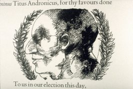 "Untitled, second in text image for act 1, scene 1 on unnumbered page beginning ""That you create our emperor's eldest son..."", second wood engraving in the book Titus Andronicus, a play by William Shakespeare ([Rockport, ME: Gehenna Press,1970])"