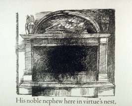 """Untitled, third in text image for act 1, scene 1 on unnumbered page beginning """"His noble nephew here in virtue's nest..."""", third wood engraving in the book Titus Andronicus, a play by William Shakespeare ([Rockport, ME: Gehenna Press,1970])"""