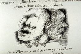 """Untitled, in text image for act 2, scene 1 on unnumbered page beginning """"Why lords, and think you not how dangerous..."""",fourth wood engraving in the book Titus Andronicus, a play by William Shakespeare ([Rockport, ME: Gehenna Press,1970])"""