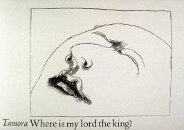 "Untitled, third in text image for act 2, scene 3 on unnumbered page beginning ""Where is my lord the king?..."", seventh wood engraving in the book Titus Andronicus, a play by William Shakespeare ([Rockport, ME: Gehenna Press,1970])"