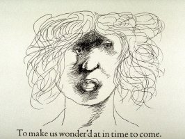 "Untitled, first in text image for act 3, scene 1 on unnumbered page beginning ""To make us wonder'd at in time to come..."", eighth wood engraving in the book Titus Andronicus, a play by William Shakespeare ([Rockport, ME: Gehenna Press,1970])"