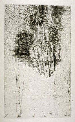 "Hand, second full page image for act 3, scene 1 opposite unnumbered page beginning ""And for our father's sake, and mother's care,..."", seventh etching in the book Titus Andronicus, a play by William Shakespeare ([Rockport, ME: Gehenna Press,1970])"