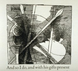"Untitled, in text image for act 4, scene 2 on unnumbered page beginning ""And so I do, and with his gifts present..."", tenth wood engraving in the book Titus Andronicus, a play by William Shakespeare ([Rockport, ME: Gehenna Press,1970])"