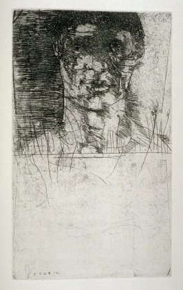 "Aaron, first full page image for act 4, scene 2 opposite unnumbered page beginning ""But let her rest in her unrest awhile.–..."", tenth etching in the book Titus Andronicus, a play by William Shakespeare ([Rockport, ME: Gehenna Press,1970])"