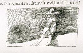 """Untitled, in text image for act 4, scene 3 on unnumbered page beginning """"I'll dive into the burning lake below,..."""" twelfth wood engraving in the book Titus Andronicus, a play by William Shakespeare ([Rockport, ME: Gehenna Press,1970])"""