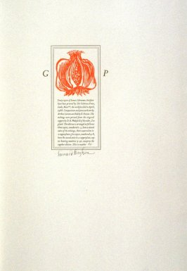 colophon ornament, thirty-third plate in the book, Icones librorum artifices ([Leeds, Mass.]: Gehenna Press, 1988)