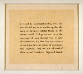 Quotation from Freud - from the Portfolio Castle Street Dogs