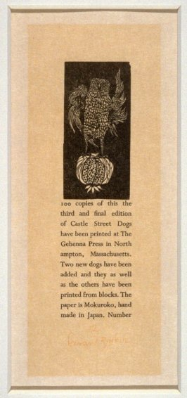 Colophon - from the Portfolio Castle Street Dogs