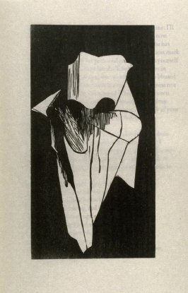 """The Handkerchief, second full page image for act 2, scene 3, woodcut interleaved opposite page beginning """"shadow? O thou invisible spirit of wine, if thou hast no..."""" in the book Othello, a play by William Shakespeare (Northampton MA: Gehenna Press,1973)"""