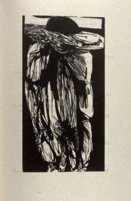 "Grieving Othello, full page image for act 4, scene 2, woodcut interleaved opposite page beginning Cough, or cry hem, if anybody come:..."" in the book Othello, a play by William Shakespeare (Northampton MA:Gehenna Press,1973)"