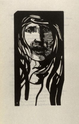 """Desdemona, first full page image for act 5, scene 1, woodcut interleaved opposite page beginning """"Who is't that cried?:..."""" in the book Othello, a play by William Shakespeare (Northampton MA:Gehenna Press,1973)"""