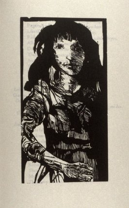 "Emilia, second full page image for act 5, scene 1, woodcut interleaved opposite page beginning ""O the pernicious caitiff!:..."" in the book Othello, a play by William Shakespeare (Northampton MA: Gehenna Press, 1973)"