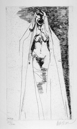 """Tamora, full page image for act 5, scene 2, etching placed opposite unnumbered page beginning """"Who dost molest my contemplation?..."""" in the sixth folio of the unbound book Titus Andronicus, a play by William Shakespeare ([Rockport, ME: Gehenna Press,1970]"""