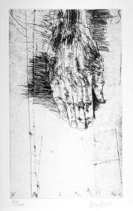 """Hand, second full page image for act 3, scene 1, etching placed opposite unnumbered page beginning """"And for our father's sake, and mother's care,..."""" in the fourth folio of the unbound book Titus Andronicus, a play by William Shakespeare ([Rockport, ME: G"""