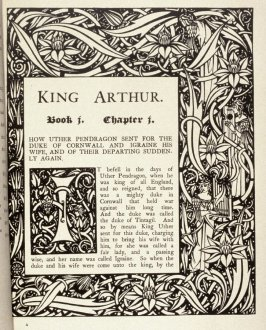 Ornamented page and first initial for book 1, chapter 1 on page 1 in the book Morte Darthur: The Birth, Life and Acts of King Arthur, of His Noble Knights … (New York: E. P. Dutton, 1909)
