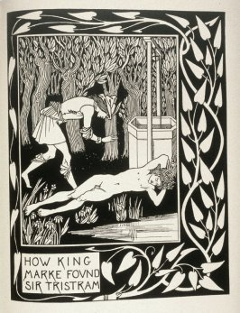 How King Marke Found Sir Tristram, in book 9 opposite page 262 in the book, Morte Darthur: The Birth, Life and Acts of King Arthur, of His Noble Knights … (New York: E. P. Dutton, 1909)
