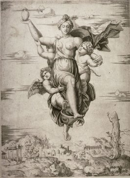 Psyche carried to Olympus, after the frescoes by the Raphael workshop in the loggia of the Villa Farnesina, Rome