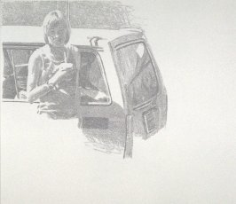 Working Proof 5 for Untitled (woman with car)