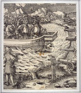 Theuerdank's Boat Brought by Neidelhart within Range of Cannon, from Theuerdank (Allegorical work commissioned by Emperor Maximilian I )