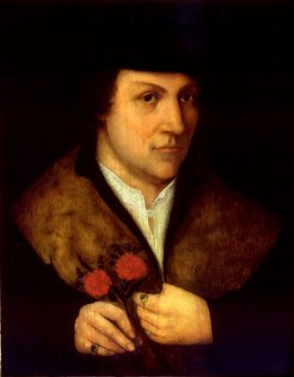 Portrait of a Man Holding Flowers