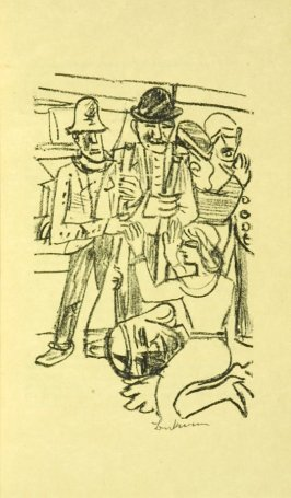 IIlustration at Scene 1, between pgs. 8 and 9, in the book Der Mensch ist kein Haustier (Man is not a Domesticated Animal) by Stephan Lackner (Paris: Editions Cosmopolites, 1937)