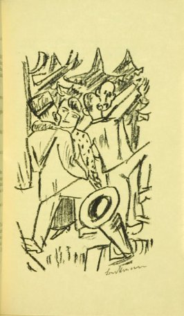Second IIlustration at Scene 5, between pgs. 64 and 65, in the book Der Mensch ist kein Haustier (Man is not a Domesticated Animal) by Stephan Lackner (Paris: Editions Cosmopolites, 1937)