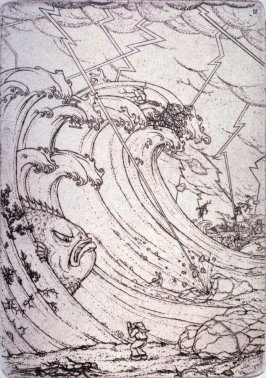 """The Great Storm"" from Illustrations For The Fisherman And His Wife."