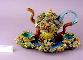 Fiesta Tea Set (Teapot with lid, Two Teacups, Tray)