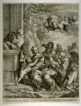 The Holy Family with Angels, after the painting by Giovanni Domenico Cerrini
