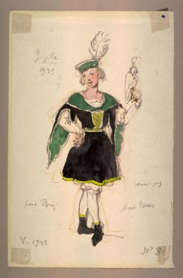 Giselle: costume sketch of a boy with a falcon, Act I