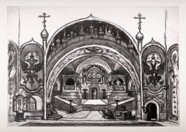 State Design for Act 3, Boris Godunov by Modeste Mussorgsky, LaScala, Milan production