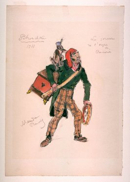 Costume sketch for the organ grinder and monkey for Petrouchka, Diaghilev's Ballets Russes