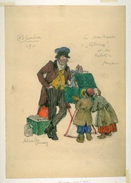 Costume sketch for the peep-show man and children Costume sketch for Petrouchka, Diaghilev's Ballets Russes